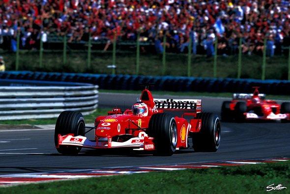 Rubens Barrichello erreichte 2002 im Ferrari die schnellste jemals in Budapest gefahrene Rundenzeit - Foto: Sutton