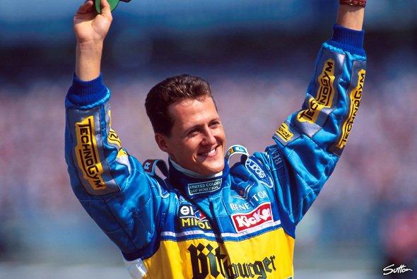 Michael Schumacher holte 1995 in Hockenheim den ersten Heimsieg eines Deutschen in der Formel 1 - Foto: Sutton