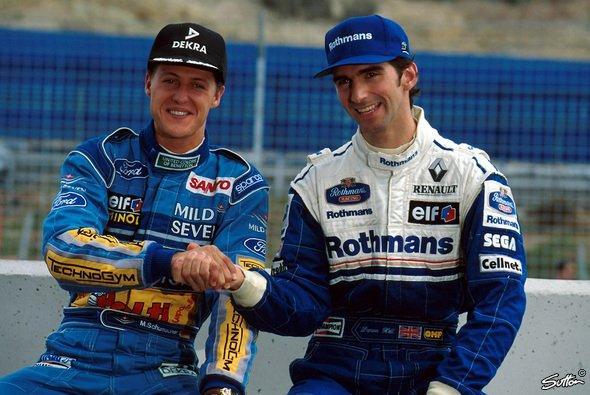 Das Bild trügt: Michael Schumacher und Damon Hill waren noch nie die dicksten Freunde