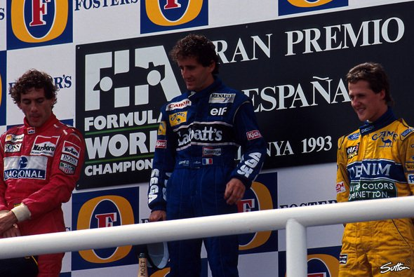 Legenden-Podium 1993 in Barcelona: Senna, Prost, Schumacher - Foto: Sutton