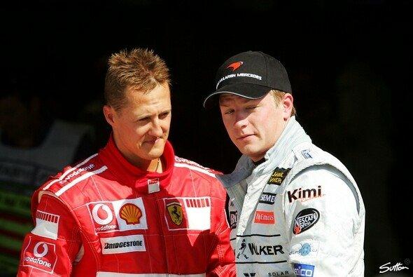 Kennen sich seit vielen Jahren: Michael Schumacher und Kimi Räikkönen - Foto: Sutton