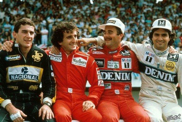 Ayrton Senna, Alain Prost, Nigel Mansell und Nelson Piquet