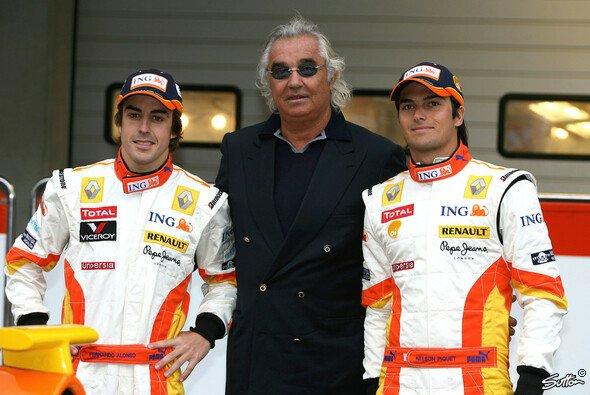 Unter Führung von Flavio Briatore waren Fernando Alonso und Nelson Piquet jr. ein umstrittenes Renault-Duo - Foto: Sutton