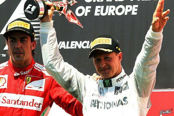 Michael Schumacher feierte 2012 in Valencia das 155. und letzte Podest seiner einzigartigen Formel-1-Karriere - Foto: Sutton