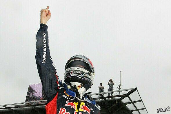 Nach 71 Runden Nervenflattern konnte Sebastian Vettel jubeln