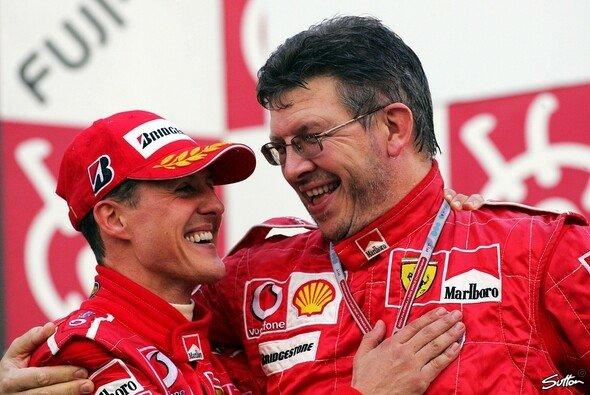Ross Brawn und Michael Schumacher. Nicht nur Technik-Boss und Fahrer, sondern echte Freunde - Foto: Sutton