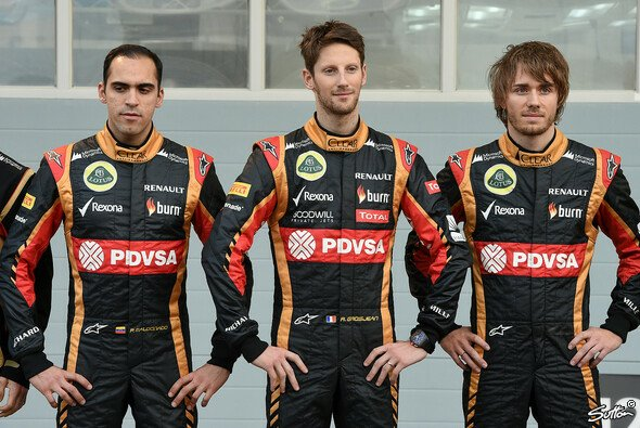 Pic (rechts) neben der Stammfraktion Grosjean (Mitte) und Maldonado bei der Teampräsentation