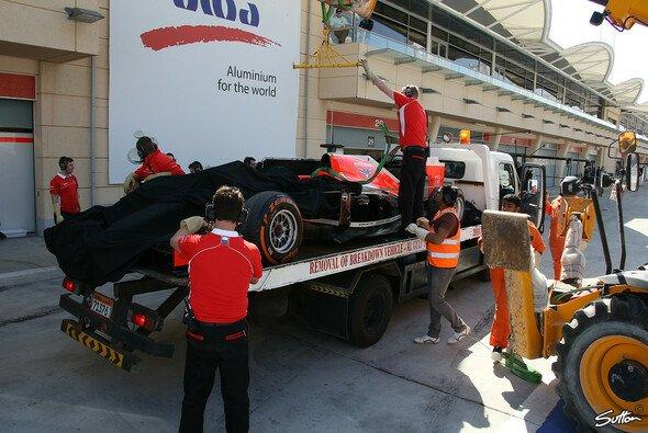 Der Marussia-Bolide war den Großteil der Testfahrten in der Box