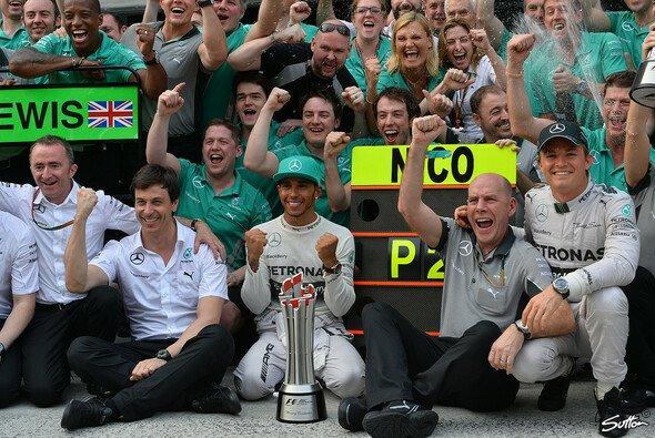 Mercedes hatte nach dem ersten Doppelsieg seit 1955 ziemlich gute Laune