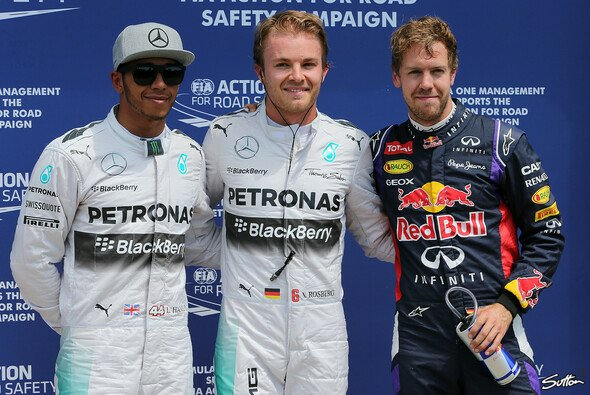 Die Top-3 des Qualifyings in Montreal: Rosberg, Hamilton, Vettel - Foto: Sutton
