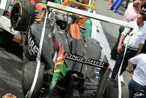Perez' demolierter Force India - Foto: Sutton