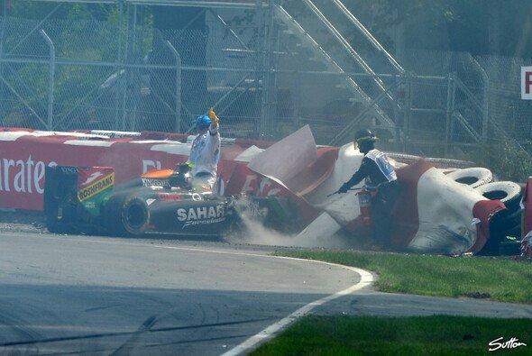 Zwischen Sergio Perez und Felipe Massa knallte es in Montreal ordentlich - Foto: Sutton