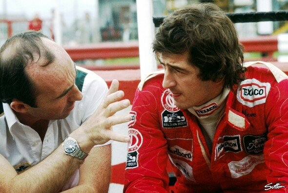 Patrick Neve und Teamchef Frank Williams in der Saison 1977