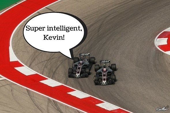 Romain Grosjean war mit Kevin Magnussens Brechstangen-Angriff im Training nicht so ganz einvestanden - Foto: Sutton/Motorsport-Magazin.com