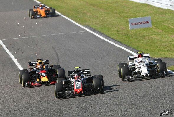Auslöser für Charles Leclercs Unmut: Der Unfall mit Kevin Magnussen beim Japan GP - Foto: Sutton
