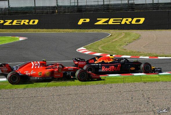Max Verstappen kollidierte nach Schneiden der Schikane mit Kimi Räikkönen - Foto: Sutton