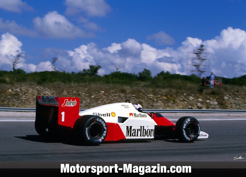 Formel 1 1986, Portugal GP, Estoril, Alain Prost, McLaren, Bild: Sutton